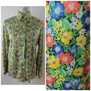 Vintage 70s Pointy Collar Poly Floral Shirt Sz M/L
